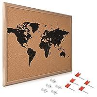 Navaris Cork Board World Map - 50 x 40 cm Push Pin Memo Corkboard in World Map Design with 10x Push Pins for Kitchen, Classroom, Home Office, Bedroom