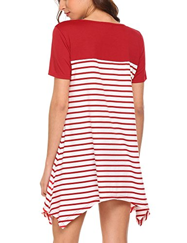 Chigant Damen Gestreift T-Shirt-Kleid Oversize Longshirt mit Rundhals Asymmetrischem Saum Für Hersbt Winter Weinrot-2
