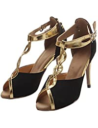 T.T-Q Zapatillas de Baile para Mujer Samba Flocado Tacón Negro Oro Sandalias Latinas Salsa Jazz Tango Swing Practice...