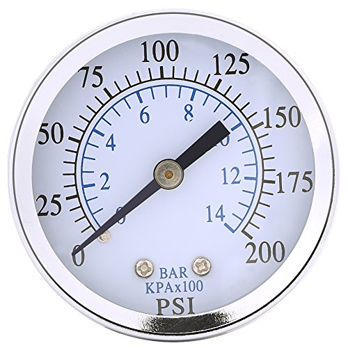 """1/4""""NPT-Mini-Manometer für Kraftstoff-Öl oder Wasser 0-200psi / 0-14bar 0-200psi 0-14bar Hydraulisches Wasser-Manometer"""