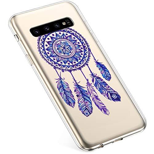 Uposao Kompatibel mit Samsung Galaxy S10 Hülle Silikon Transparent Silikon Schutzhülle Durchsichtig Kratzfest TPU Bumper Crystal Clear Case Cover Tasche Handyhülle,Blau Feder Traumfänger
