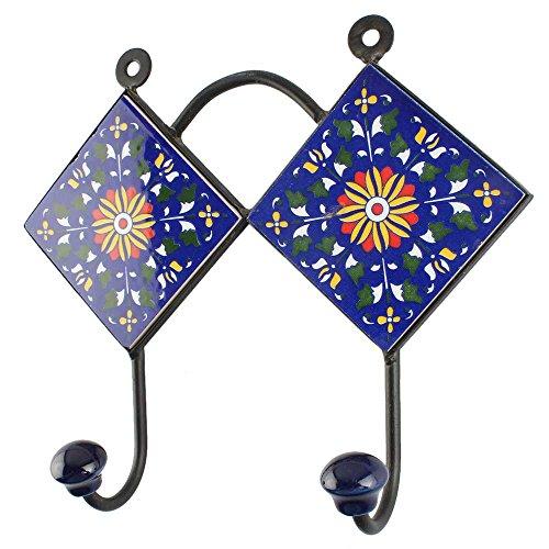 indianshelf Handgefertigt Navy Blue Wheel Flower Keramik-Fliesen Zubehör Haken/Hänger/Holder-1Stück (hk-1836) Standard Blau (Blau Utility Shelf)