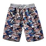 Pantalones Cortos para Hombre Personalizadas Moda Estampado Suelto Casuales Los Vientos Nacionales Pantalones de Playa Cómodo Transpirables Deportivos Cortos de Verano MMUJERY