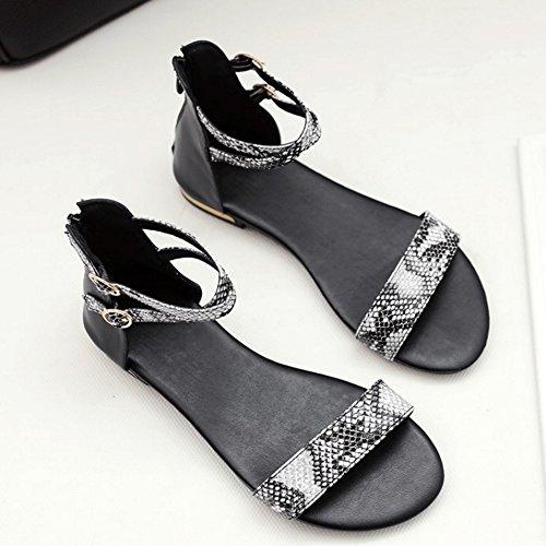 TAOFFEN Damen Comfortable Ankle-strap Zipper Buckle Flach Sandalen Schwarz