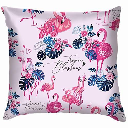 r Flamingo Monstera Animal Throw Pillows Covers Accent Home Sofa Cushion Cover Pillowcase Gift Decorative 18X18 Inch ()