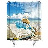 MaxAst Cortinas Ducha Colorido Cortinas Ducha Estrella de Mar Concha Libro en PlayaCortinas Baño Poliester Cortinas Ducha Antimoho Cortina Ducha 180x180CM