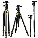 K&F Concept Tripod Camera Professional Portable Aluminum Alloy Tripod Monopod with 360 Degree Ball Head + 12KG Load Capacity + 4 Sections with Quick Release Plate for Video Digital Cameras Camcorders Black 64