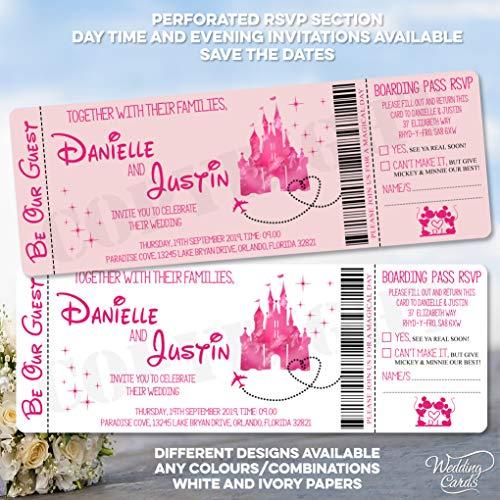 Personalisierte Einladung / Save the Date Aschenputtel Disney Mickey Minnie Hochzeit Geburtstag Ticket Einladungen Party Einladung Mickey Minnie Ariel