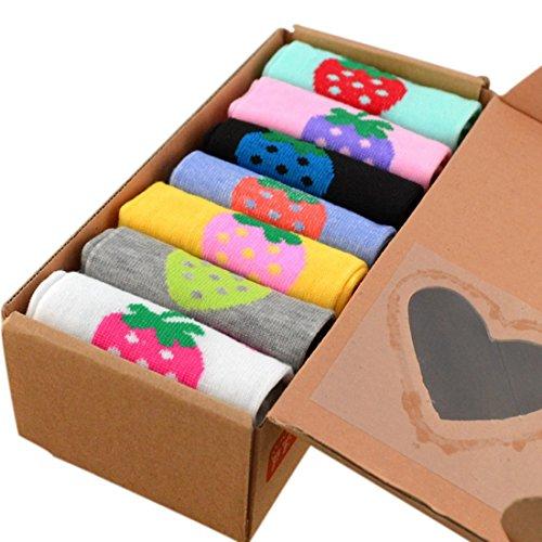 Beautylife66 7 Paare Socken Damen Socken Set 34-49 Mehrfarbig mit Bunte Erdbeeren