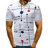 GreatestPAK Polo-Shirt mit V-Ausschnitt Herren Hemd Buttons Design halbe Strickjacken Kurzarm Patchwork Casual T-Shirt,Weiß,L