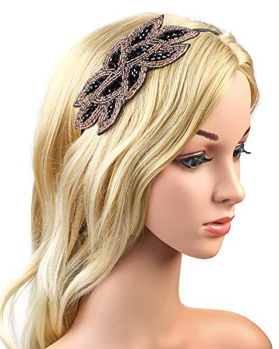 (Beelittle 1920er Jahre Stirnband Vintage Strass Flapper Headpiece Crystal Haarschmuck für große Gatsby Kostüm Roaring 20er Jahre Party-Dress-up-Zubehör (A))
