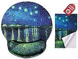 Van Gogh Sternennacht über dem Rhône Ergonomic Design Mouse Pad mit Handballenauflage Hand Support. Runder großer Mausbereich. Passende Mikrofaser Reinigungstuch für Brillen und Bildschirme.