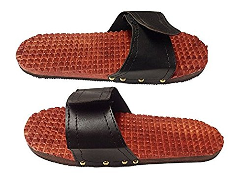 ART&CRAFT Wooden Relaxing Acupressure Slippers for Health (Brown, 27cm)
