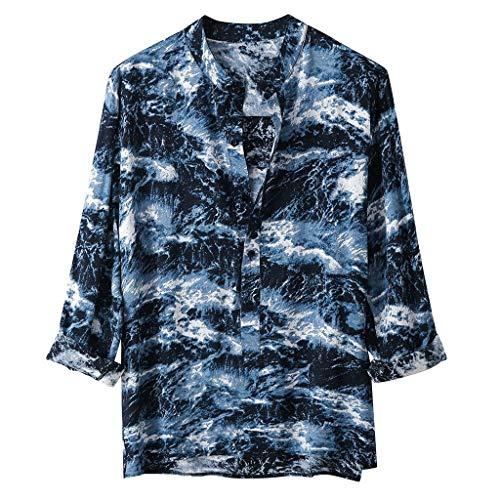 Männer Hemd Herren Shirt Langarm Rundhals Färben Printe Sommerhemd Beach Casual Hemden Knopf Hippie PPangUDing Strand Tops Freizeithemd Hoodie Muskelshirt Kurzarm Loose Fit (3XL, Blau) -