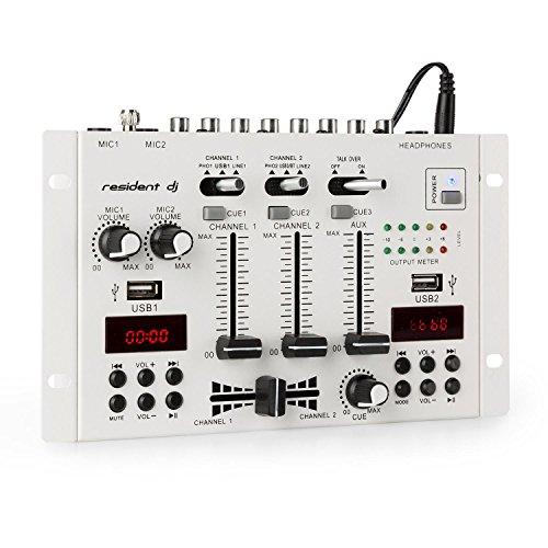 Resident DJ 22BT 2CH Mixer • 3/2-Kanal-DJ-Mischpult • 2 x USB-Port • 3 x 6,3 Klinke • Bluetooth • Frequenzgang: 20Hz-20kHz ± 2 dB •160 Ohm Impedanz • 2 Displays • Metall-Chassis • 1.5 m Kabel • weiß
