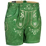 PAULGOS Damen Trachten Lederhose + Träger, Echtes Leder, Kurz in 8 Farben Gr. 34-50 M3, Damen Größe:42, Farbe:Grün