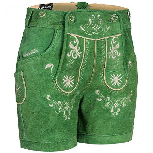PAULGOS Damen Trachten Lederhose + Träger, Echtes Leder, Kurz in 8 Farben Gr. 34-50 M3, Damen Größe:36, Farbe:Grün