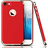 """iPhone 7 Case,AUDOS *3-in-1 SHOCKPROOF* Dual Layer Thin Back Cover Case For APPLE IPHONE 7 (4.7"""") (Red with Gold)"""