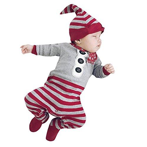 BeautyTop Neugeborene Baby Mädchen Jungen Weihnachten Kleidung Strampler Overall Hut Outfit Kleidung (70/0-3 Monate, Rot) -