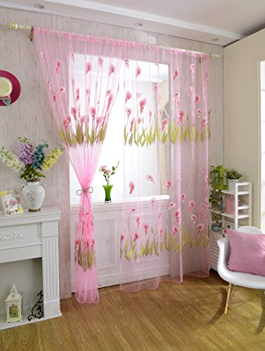 Generic 270x100cm Calla lily Pattern Tulle Door Window Divider Voile Curtain- Pink