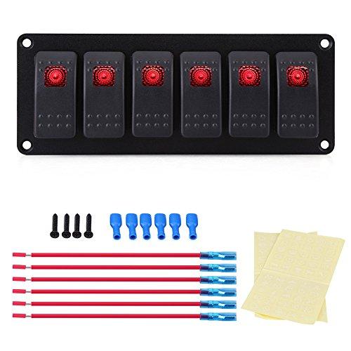 6 Gang Kippschalter Rocker Switch Panel mit Aufkleber Aufkleber Etiketten für Autos RV Truck Marine Boot 12-24V
