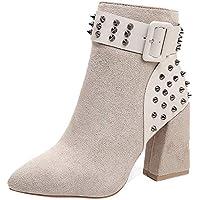 Mujer botines Martin Remache de clavos,Sonnena ❤️ Moda Martin Boots Las mujeres rematan los zapatos planos inferiores para el partido Hasta el tobillo botas altas tacones
