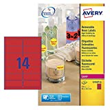 Avery L7263R-25 Neon-Etiketten (für Laserdrucker, 14 pro Blatt, 99,1 x 38,1 mm) 350 Etiketten neonrot