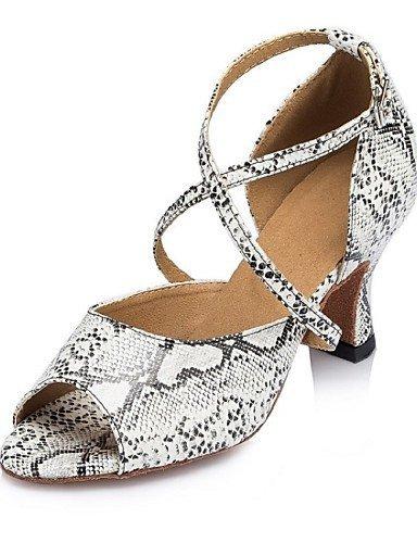ShangYi Chaussures de danse ( Bleu / Blanc / Or ) - Personnalisables - Talon Personnalisé - Similicuir - Latine / Salsa / Samba Gold