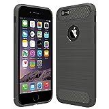 Anjoo Kompatibel für iPhone 6/6s Hülle, Carbon Fiber Texture-Inner Shock Resistant-Weich und Flexibel TPU Cover Case für iPhone 6 iPhone 6s, Grau
