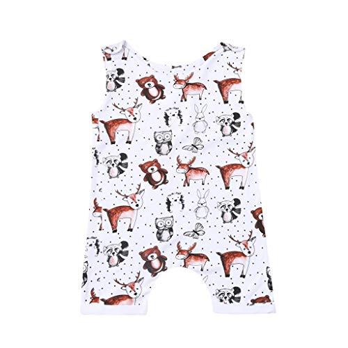 WUSIKY Sommer Säuglingskleidung Baby Body Neugeborene Mädchen Pyjamas Bär Kuh Print Strampler Gemütliche Baumwolle Overall Weiche Outfits Taufe (Weiß,12Monate)