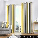 Fusion Tende con Occhielli, 100% Cotone, ocra, 167,6cm Larghezza x 228,6cm Goccia (168x 229cm)