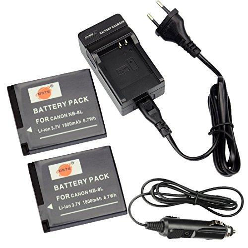DSTE®(2 Pack)Ersatz Batterie und DC98E Reise Ladegerät Kit für Canon NB-8L PowerShot A2200 A3000 A3001 A3100 A3200 A3300 IS Digital Kamera -