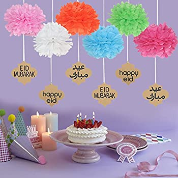 Lembeauty 6pcs Seidenpapier Flower Ball Hängen Pom Mit Eid Mubarak Tags Für Party Einkaufszentrum Aktivitäten Fenster Decor 7
