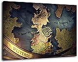 Westeros Karte Format 100x70 cm Bild auf Leinwand, XXL riesige Bilder fertig gerahmt mit Keilrahmen, Kunstdruck auf Wandbild mit Rahmen