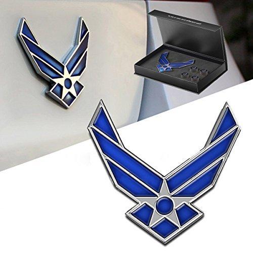 dsycar 3D Metall US Air Force Logo Auto Aufkleber Emblem Badge Aufkleber für Auto Styling DIY Dekoration Zubehör–Blau–4gratis Ventil Vorbau Gap (Die Decal Force Us-air)