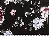 A partire da 1 m: stampa in viscosa, fiori grandi, nero-multicolore, larghezza 140 - 145 cm