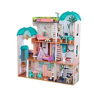 KidKraft- Casa de muñecas de madera con muebles y accesorios incluidos, apta para muñecas de 30 cm, Color Rosa ( 65986 )