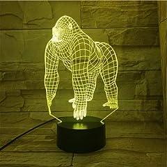 Idea Regalo - Animale Gorilla 3D Lampada Touch Sensor 7 Cambiare colore Lampada decorativa Bambino Bambini Baby Kit Nightlight Orangutan Led Night Light