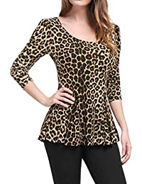 08b19d8ca5887 Allegra K Women s Long Sleeves Scoop Neck Leopard Prints Peplum Shirt Top