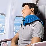 LANGRIA Multizweck Nackenkissen 6-in-1 Memory Schaum Reisekissen mit abnehmbarer Maske Einstellbare Größe für alle Alters Seiten elastische Tasche für Flugzeug Zug Auto Bus Büro (Blau)