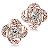 Shiny Elegant Rose Gold Plated 925 Sterling Silver Stud Earrings for Women Lady Girls