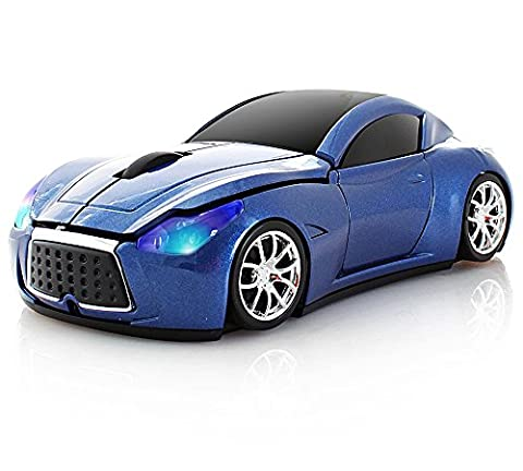 SPECTRONIX Wireless Sports Racing Car Mouse Optical & Ergonomic Design with Nano USB Receiver 10 Meter Range 2.4GHz Wireless Mouse 1600DPI for Laptops and PCs 5 Vibrant Colours (Blue)