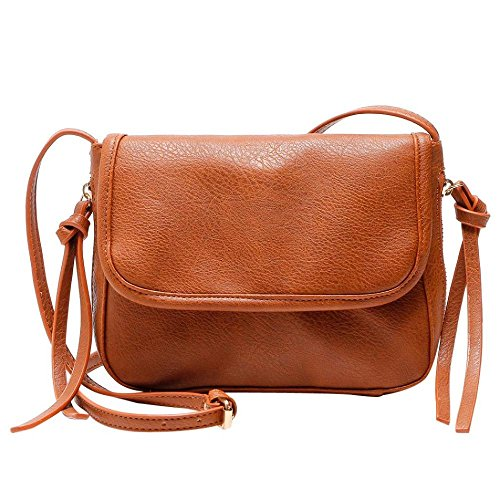 rameng Damen Vintage Mini Umhängetasche doppelt gekreuzt Tasche Säcke von Rennen, braun, (H)20cm*(L)25cm*(W)5cm (Klappe-umhängetasche Kleine)