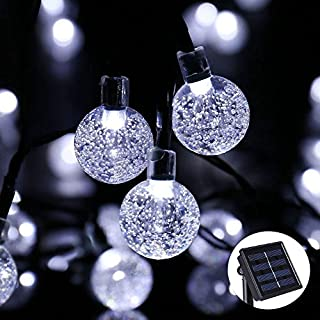 Qedertek Solar Garden Lights, 30 LED Solar Fairy Lights, 8 Lighting Modes Waterproof Crystal Ball Outdoor String Lights Perfect for Outdoor, Garden, Lawn, Yard, Fence, Festival Decorations (White)