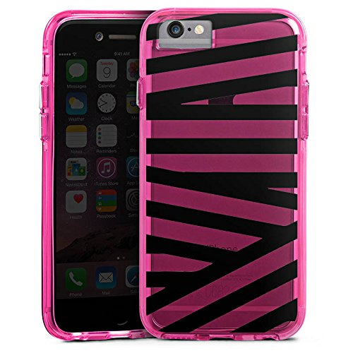 Apple iPhone 6 Bumper Hülle Bumper Case Glitzer Hülle Transparent mit Muster Streifen Pattern Bumper Case transparent pink