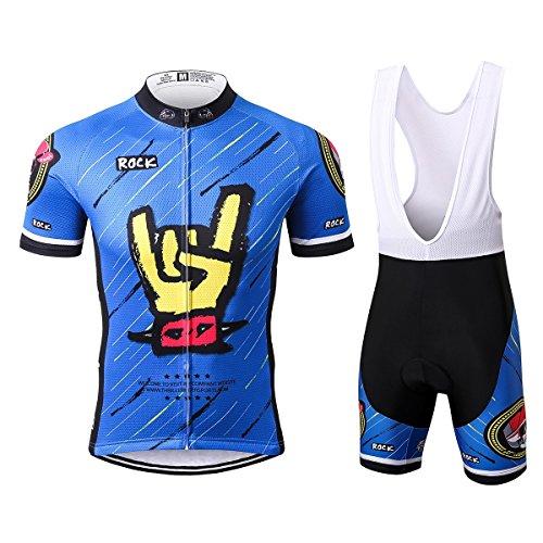 Thriller Rider Sports® Herren Rock Music Blue Sport & Freizeit MTB Fahrradbekleidung Radtrikot und Trägerhose Anzüge 3X-Large