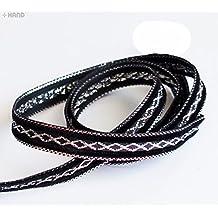 Elegante nero e argento mestiere partito fai da te nastro Trim - assortiti Larghezza e stili (NO.FBS02 Velvet 10mmx20m)