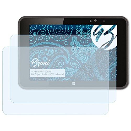 Bruni Schutzfolie kompatibel mit Fujitsu Stylistic V535 Industrial Folie, glasklare Bildschirmschutzfolie (2X)