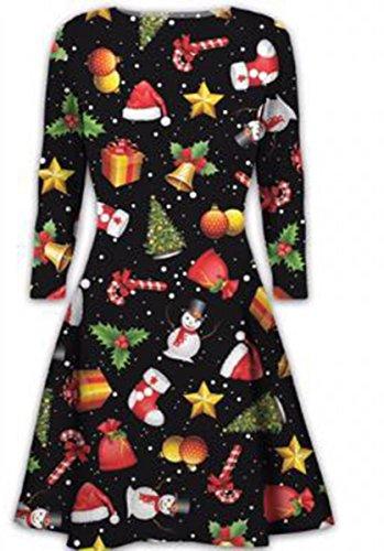 New Womens Mini Dresses Christmas Trees Xmas Santa Snowman Reindeer Rudolph Gift Bells Present Ladies Swing Top