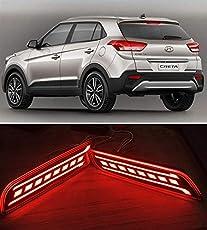 PR Car Reflector Led Brake Light for Bumper(Rear/Back) Drl New Design For Hyundai Creta 2018- Set of 2 Pcs with wiring
